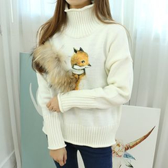 Dodostyle - Faux Fur-Trim Fox Printed Turtle-Neck Knit Top