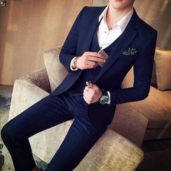 Bay Go Mall - Set of 3: Plain Blazer + Vest + Dress Pants