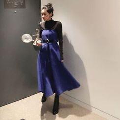 DISCOSALON - Belted-Detail Long Tube Dress
