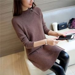 Bubbleknot - Long-Sleeve Plain Knit Dress