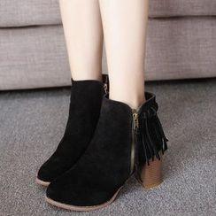 EMIL - Block Heel Fringe Short Boots