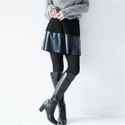GLAM12 - Inset Faux-Leather Skirt Leggings