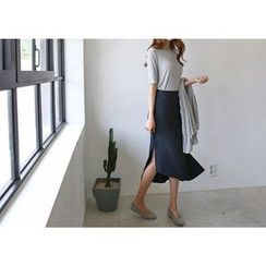 Hello sweety - Zip-Side Dip-Back Midi Skirt