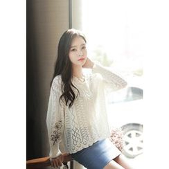MyFiona - Flower-Embroidered Pointelle Knit Top