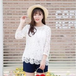 CAIDOBLE - 3/4-Sleeve Lace Top