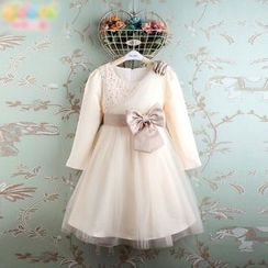 Kidora - 小童长袖亮片薄纱连衣裙