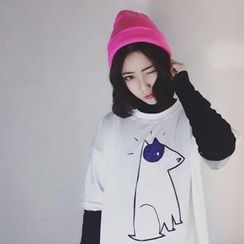 Cerauno - Dog Print Elbow-Sleeve T-Shirt