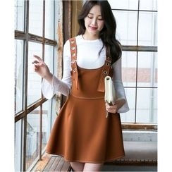 Dowisi - Set: Bell Sleeve Knit Pullover + Jumper Dress