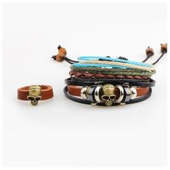 KINNO - Set of 3: Skull Ring + Genuine Leather Bracelet