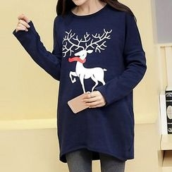 Fashion Street - Deer Print Maternity Pullover