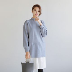 WITH IPUN - Inset Pullover Accordion-Pleat Dress