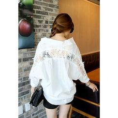 REDOPIN - Lace-Trim Dolman-Sleeve Top