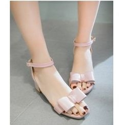Freesia - Bow Accent Chunky Heel Sandals