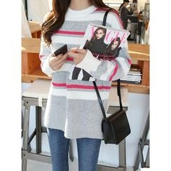 hellopeco - Round-Neck Color-Block Knit Top