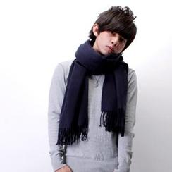 SeventyAge - 秋冬日韓雜推薦加厚版素面流蘇長版圍巾
