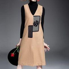 Alaroo - 無袖拼布V領連衣裙