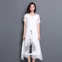 chic n' fab - Print Short-Sleeve Midi Dress