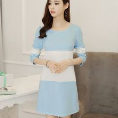 Bornite - Color Block Long-Sleeve Shift Dress