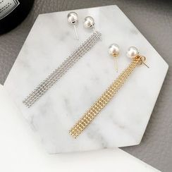 True Glam - Pearl Non-matching Earrings