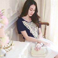 Tokyo Fashion - Crochet Bib Short-Sleeve Chiffon Blouse