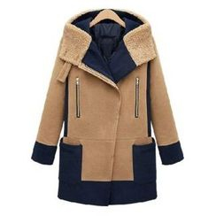 AGA - Two Tone Hooded Asymmetrical Zip Coat