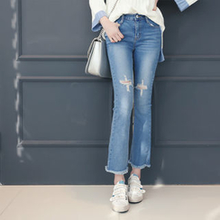 DANI LOVE - Fray-Hem Boot-Cut Distressed Jeans