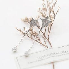 Love Generation - Star Rhinestone Sterling Silver Earrings