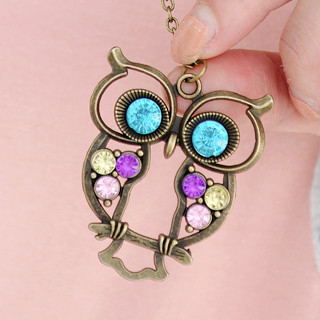 59 Seconds - Rhinestone Owl Necklace
