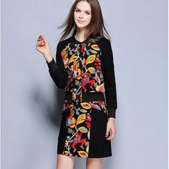 Rosesong - Set: Printed Panel Buttoned Jacket + Skirt