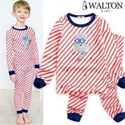 WALTON kids - Boys Pajama Set: Printed Stripe Top + Pants