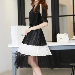 Romantica - Set: Ruffled Top + Color-Block Long Skirt
