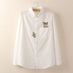 Tangi - Long-Sleeve Fox Embroidered Shirt