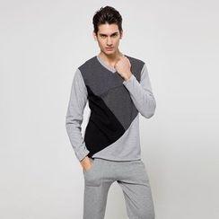 uninukoo - Color Block Long-Sleeve Top