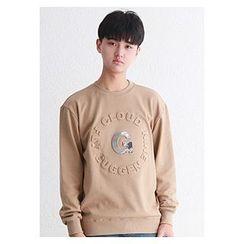 HOTBOOM - Crew-Neck Embossed Lettering Sweatshirt