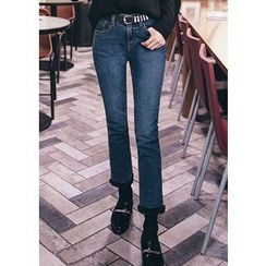 Chlo.D.Manon - Faux-Fur Hem Slim-Fit Jeans