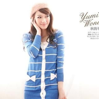 YUMI - Bow-Pocket Striped Long Knit Cardigan