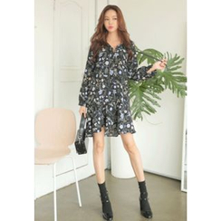 REDOPIN - Tie-Front Floral Print Dress