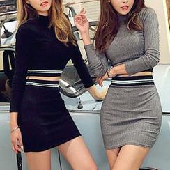 DABAGIRL - Set: Mock-Neck Ribbed Top + Mini Pencil Skirt