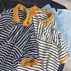 Soulcity - Striped Short-Sleeve Polo Shirt