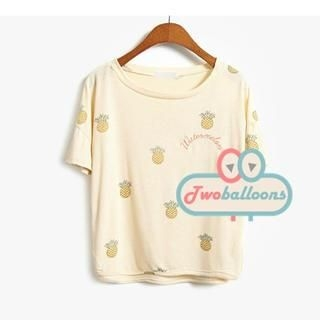 JVL - Short-Sleeve Pineapple-Print T-Shirt