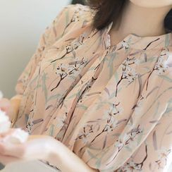 MyFiona - 3/4-Sleeve Floral Print Chiffon Blouse