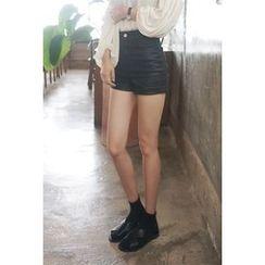 OZNARA - High-Waist Coated Shorts