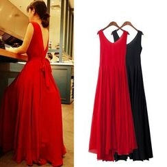 Isadora - Sleeveless Open Back Maxi Chiffon Dress