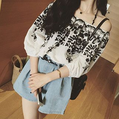 Reis - 露肩刺绣雪纺上衣