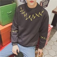 Soulcity - Leaf Embroidered Sweatshirt
