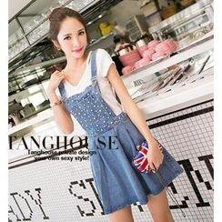 Tang House - Embellished Denim Jumper Skirt