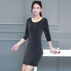 Yumerakka - Long-Sleeve Glitter Sheath Dress