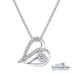 Leo Diamond - Affectionate Collection - 18K White Gold Diamond Accent Sideway Heart-Shaped Pendant Necklace (16')