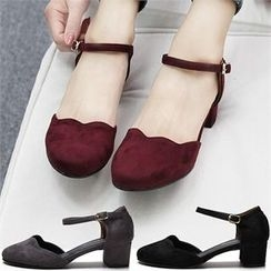 Reneve - Ankle-Strap Chunky-Heel Flats