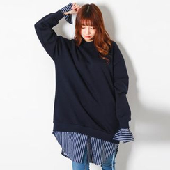FASHION DIVA - Inset Stripe Shirt Oversized Sweatshirt